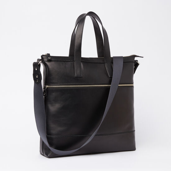 Roots-Leather Briefcases & Messengers-Modern Tote Box-Black-A