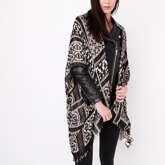 Roots-Women Accessories-Meera Kimono Wrap-Black-A