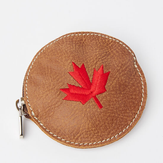 Roots-Women Leather-Maple Leaf Coin Pouch Tribe-Africa-A