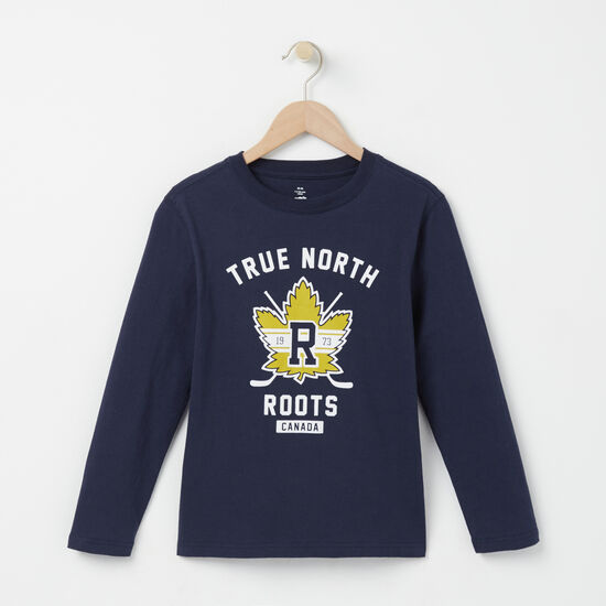 Roots-Kids T-shirts-Boys Roots True North T-shirt-Navy Blazer-A