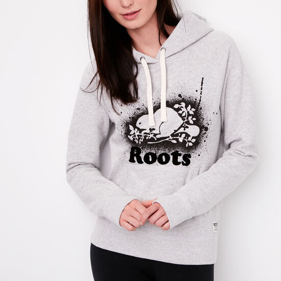 Roots-Women Sweats-Splatter Original Kanga Hoody-Snowy Ice Mix-A