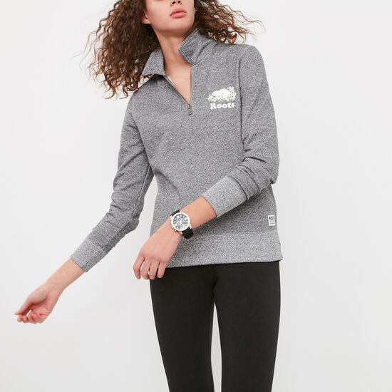 Roots-Women Sweats-Cooper Zip Polo-Salt & Pepper-A