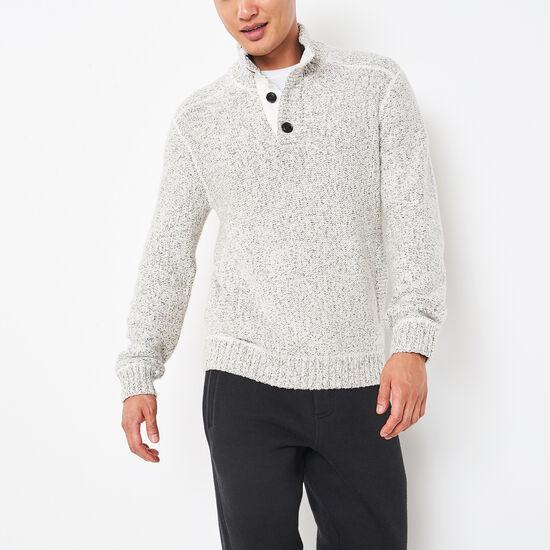 Snowy Fox Buttoned Mock