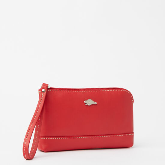 Roots-Women Leather Pouches-Funky Zip Pouch Bolzano-Scarlet-A
