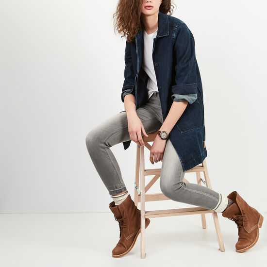 Roots-Women Jackets-Denim Drafting Coat-Denim Blue-A