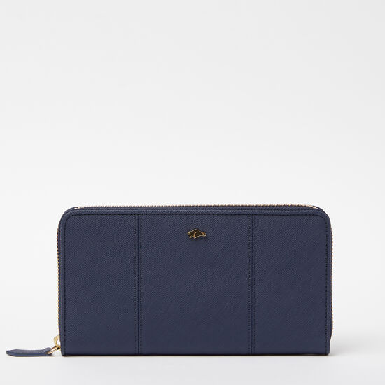 Roots-Women Wallets-Open Flat Wallet Saffiano-Dark Indigo-A