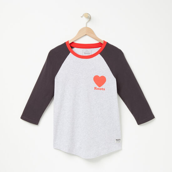 Roots-Women New Arrivals-Love Roots Baseball T-shirt-Snowy Ice Mix-A