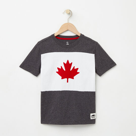 Roots-Kids New Arrivals-Boys Blazon Maple T-shirt-Charcoal Mix-A