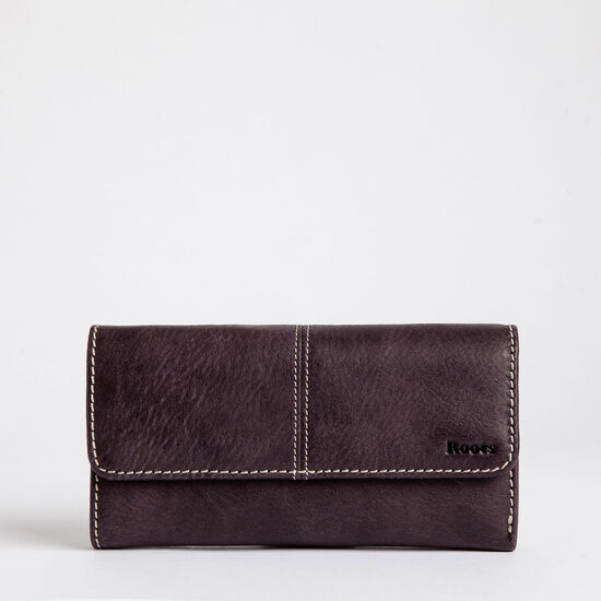 Roots-Women Wallets-Med Trifold Clutch Tribe-Wineberry-A