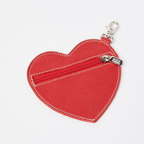 Roots-Leather Leather Accessories-Heart Zip Pouch Prince-Red-A