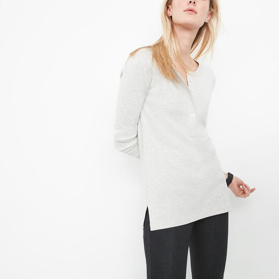 Roots-Women Tops-Scotia Henley-White Grey Mix-A
