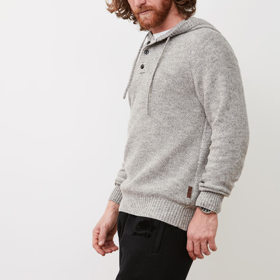 Roots-Men Sweaters & Cardigans-Henley Hoody Sweater-Grey Mix-A