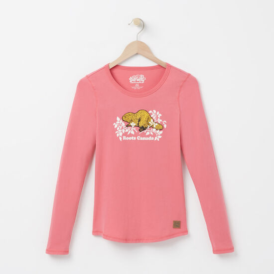 Roots-Women Online Exclusive-Heritage Beaver Top-Rapture Rose-A