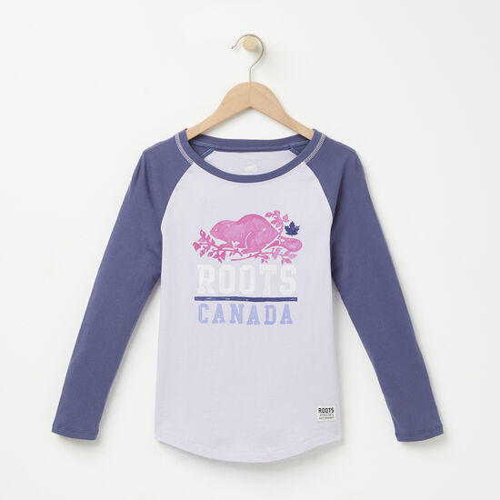 Roots-Kids T-shirts-Girls Roots Spring Baseball Top-Purple Heather-A