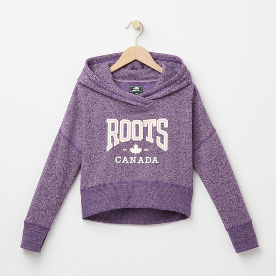Roots-Kids Girls-Girls Ella Maple Cropped Hoody-Valley Purple Mix-A