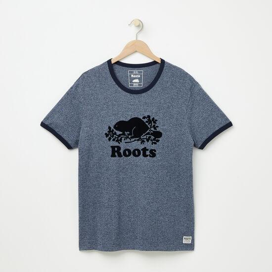 Roots-Men Graphic T-shirts-Cooper Beaver T-shirt-Navy Blazer Pepper-A