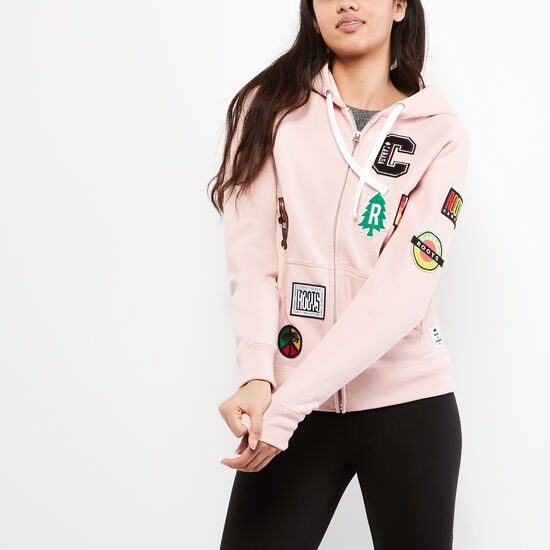 Roots-Men Women's-Womens Patches Original Full Zip Hoody-Silver Pink-A