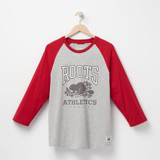 Roots-Sale Men's-RBA Baseball T-shirt-Grey Mix-A