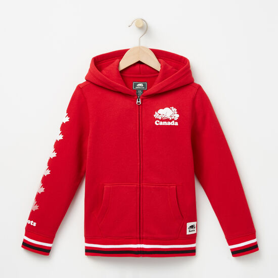 Roots-Kids Boys-Boys Cooper Canada Full Zip Hoody-Sage Red-A
