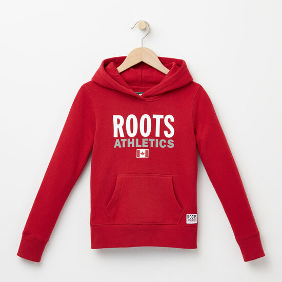 Roots-Kids Tops-Girls Roots Re-issue Kanga Hoody-Scooter Red-A