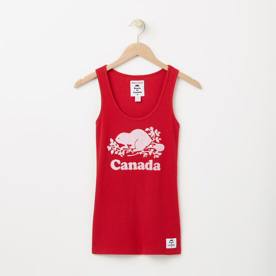 Roots-Men Women's-Womens Cooper Canada Rib Tank-Sage Red-A