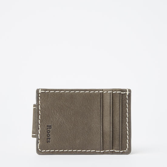 Roots-Leather Men's Wallets-Mens Money Clip Card Holder Tribe-Slate-A