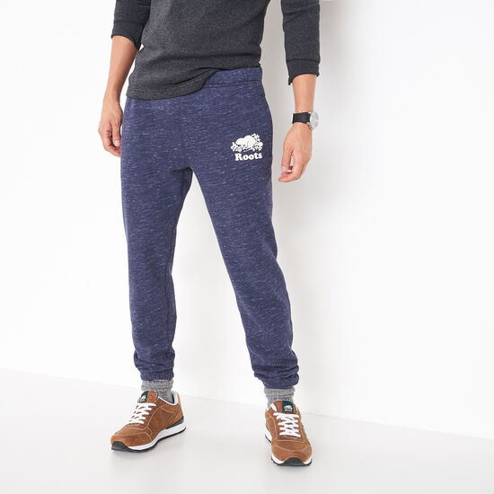 Roots-Men Slim Sweatpants-3 On 3 Space Dye Slim Sweatpant-Navy Blazer Combo-A