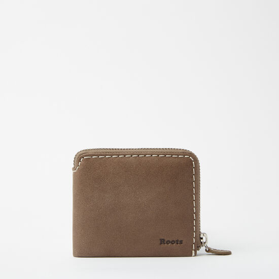 Roots-Leather Men's Wallets-Mens Half Zip Wallet Tribe Tribe-Taupe-A
