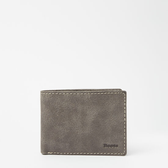 Roots-Leather Men's Wallets-Mens Slimfold Top Flap Tribe-Slate-A