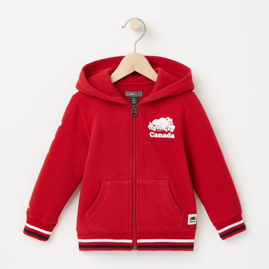 Roots-Kids Toddler Girls-Toddler Canada Full Zip Hoody-Sage Red-A