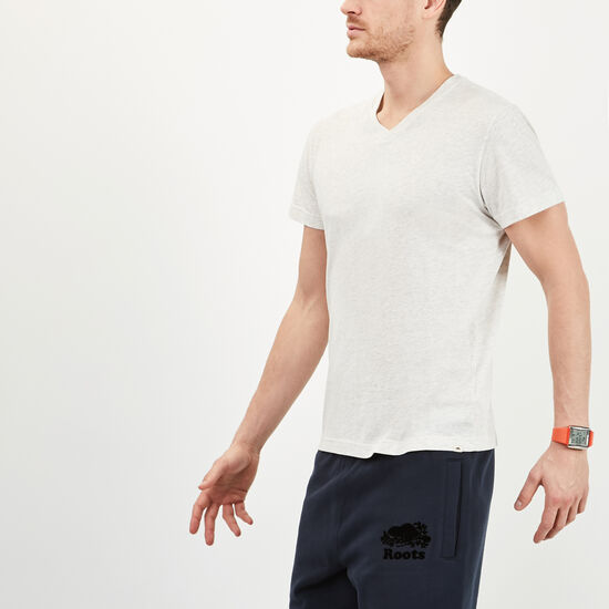Roots-Men Tops-Withrow V Neck T-shirt-White Mix-A