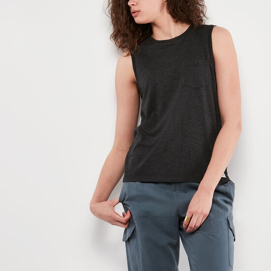 Roots-Women Tops-Pocket Tank-Black Mix-A