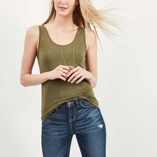 Roots-Women Tanks-Essential Bamboo Tank-Ivy Green-A