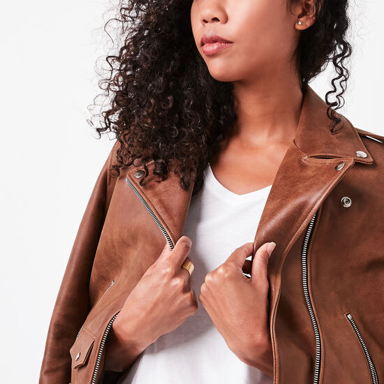 Roots-Leather Women's Leather Jackets-Moto Jacket Tribe-Africa-A
