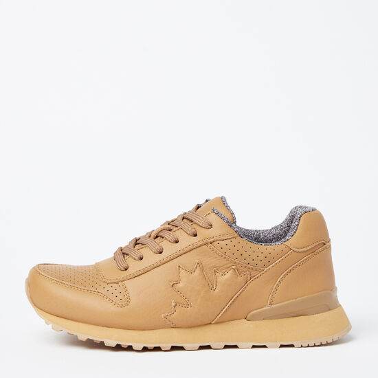Roots-Shoes Women's Shoes-Womens Trans Canada Jogger Leather-Cookie Dough-A