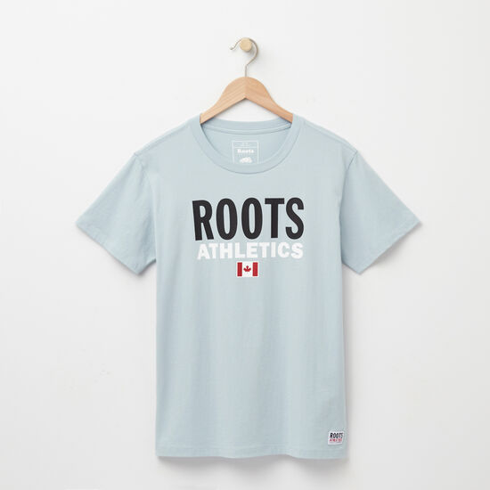 Roots-Women Graphic T-shirts-Womens Roots Re-issue T-shirt-Celestial Blue-A