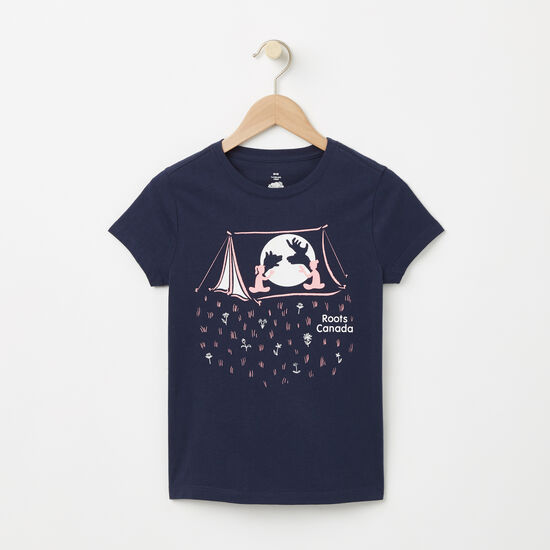 Roots-Kids T-shirts-Girls Glow Constellation T-shirt-Cascade Blue-A