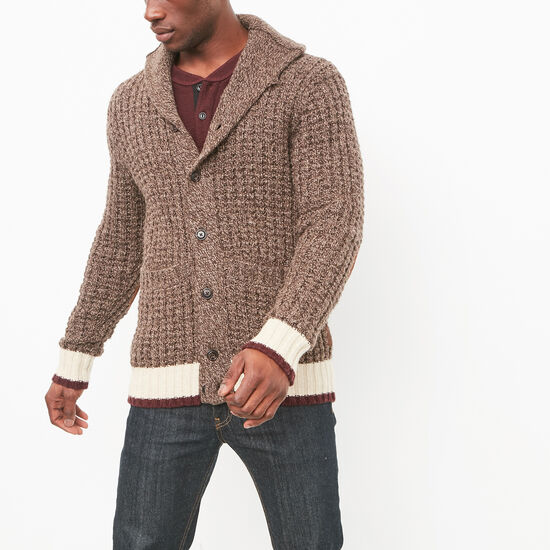 Roots-Men Sweaters & Cardigans-Roots Cabin Waffle Cardigan-Coffee Mix-A