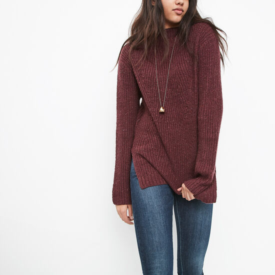 Roots-Women Sweaters & Cardigans-Sherbrooke Mock Neck Sweater-Cabernet Mix-A