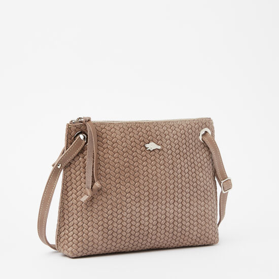 Roots-Leather Mini Leather Handbags-Edie Bag Woven-Fawn-A