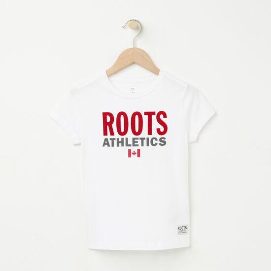 Roots-Kids T-shirts-Girls Roots Re-issue T-shirt-White-A