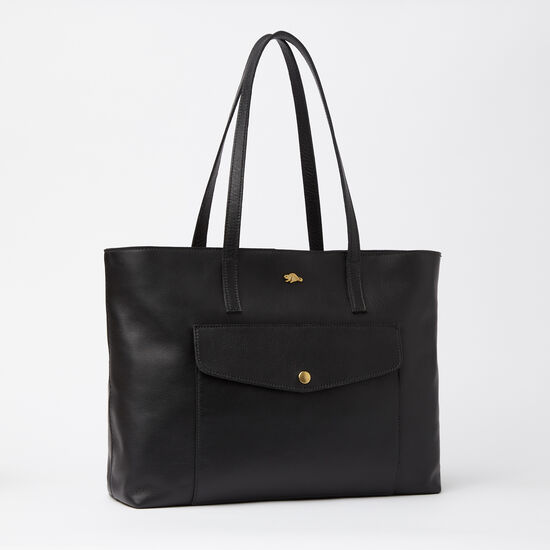 Roots-Leather Totes-Uptown Tote Box-Black-A