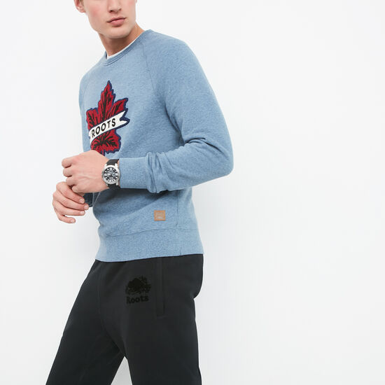 Roots-Men Online Exclusive-Heritage Leaf Crewneck-Blue Denim Pepper-A