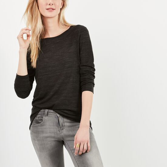 Roots-Women Sweaters & Cardigans-Eastmain Top-Black Mix-A