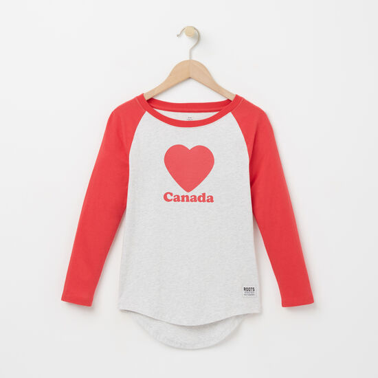 Roots-Kids T-shirts-Girls Love Roots Canada Raglan T-shirt-Snowy Ice Mix-A