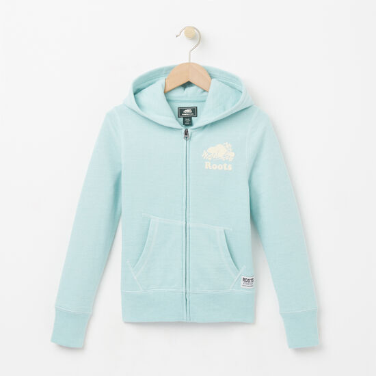 Roots-Kids Girls-Girls Pepper Original Full Zip Hoody-Pastel Turquoise Ppr-A