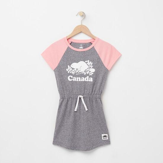 Roots-Kids New Arrivals-Girls Cooper Canada Raglan Dress-Salt & Pepper-A
