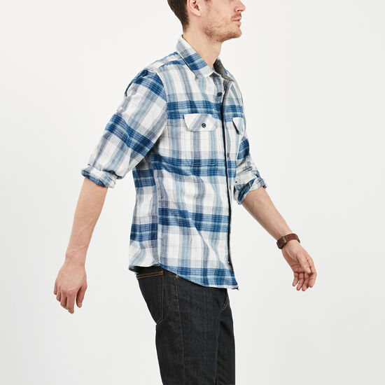 Roots-Men Tops-Bell River Plaid Shirt-Cascade Blue-A