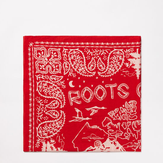 Roots-Women Accessories-Canada Bandana Wrap-Sage Red-A