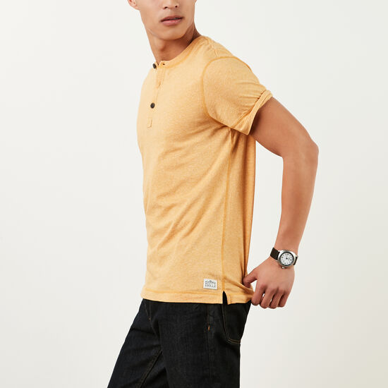 Roots-Men Tops-New Guelph Henley-Ancient Gold Pepper-A